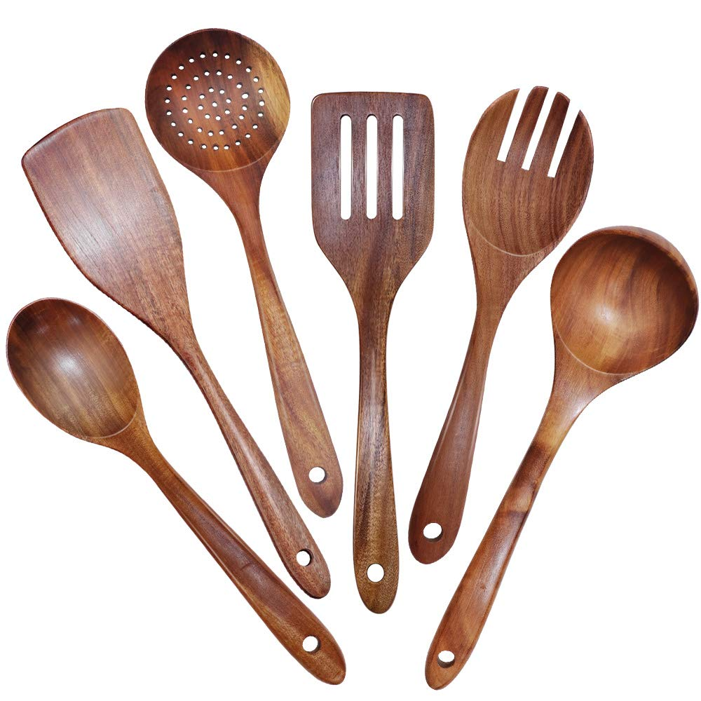 GEEKHOM Wooden Kitchen Utensil Set of 6 Pieces, Seamless Cooking Utensils for Non Stick Cookware, Natural Teak Wood Spatula Spoon Colander Ladle, Durable Kitchen Cooking Tools for Baking Mixing