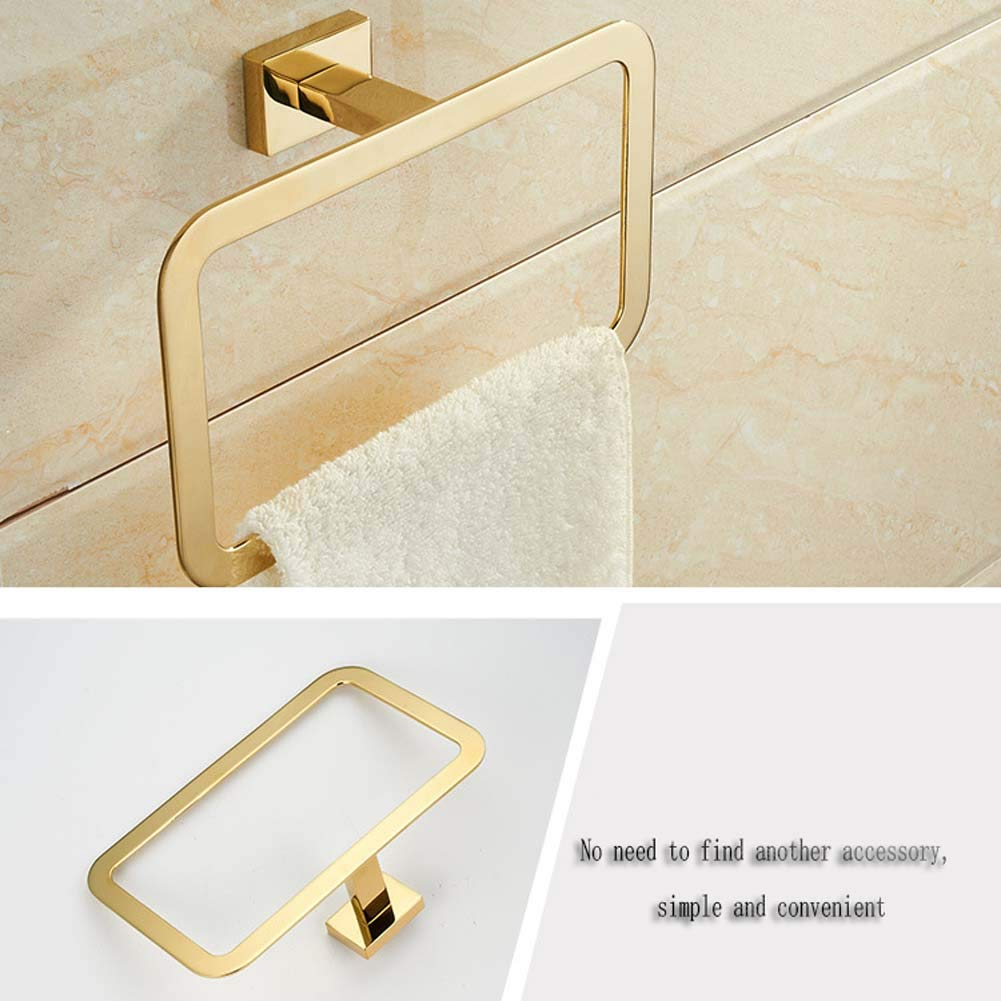 Bathroom Accessories Strong and Durable ,Gold Towel Ring Compact Design is Perfect for Installing Inside Closet or in Tight Spaces GOLD Stainless Steel Holder Bath Hand Rack Hanger 8.8 inch