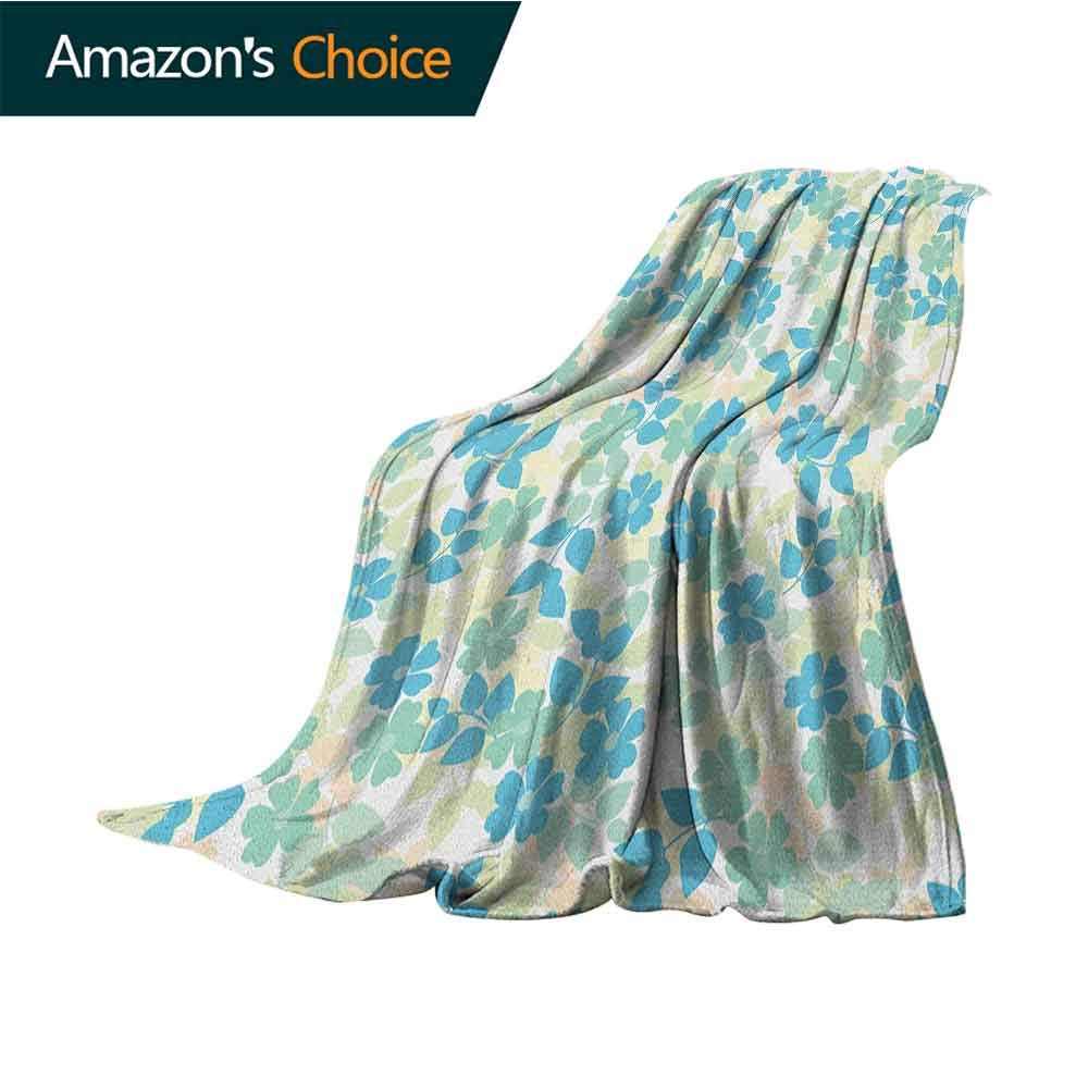 Flower Lightweight Blanket,Flowers Leaves Vintage Style Classic Nostalgia Summertime Art Microfiber All Season Blanket for Bed or Couch Multicolor,50'' Wx70 L Almond Green Pale Yellow Blue