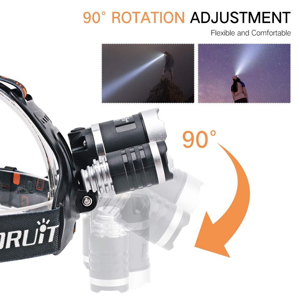 Rechargeable flashlight led headlamp Boruit RJ-3000 headlamp 4 modes 5000 high lumens water resist Led headlight for camping hiking