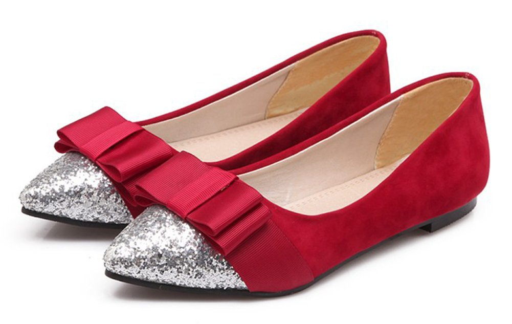 Aisun Women's Glitter Sequins Low Cut Pointed Slip Toe Driving Cars Dressy Slip Pointed On Flats Shoes With Bow B07B633WMV 5 B(M) US|Red 0827fc