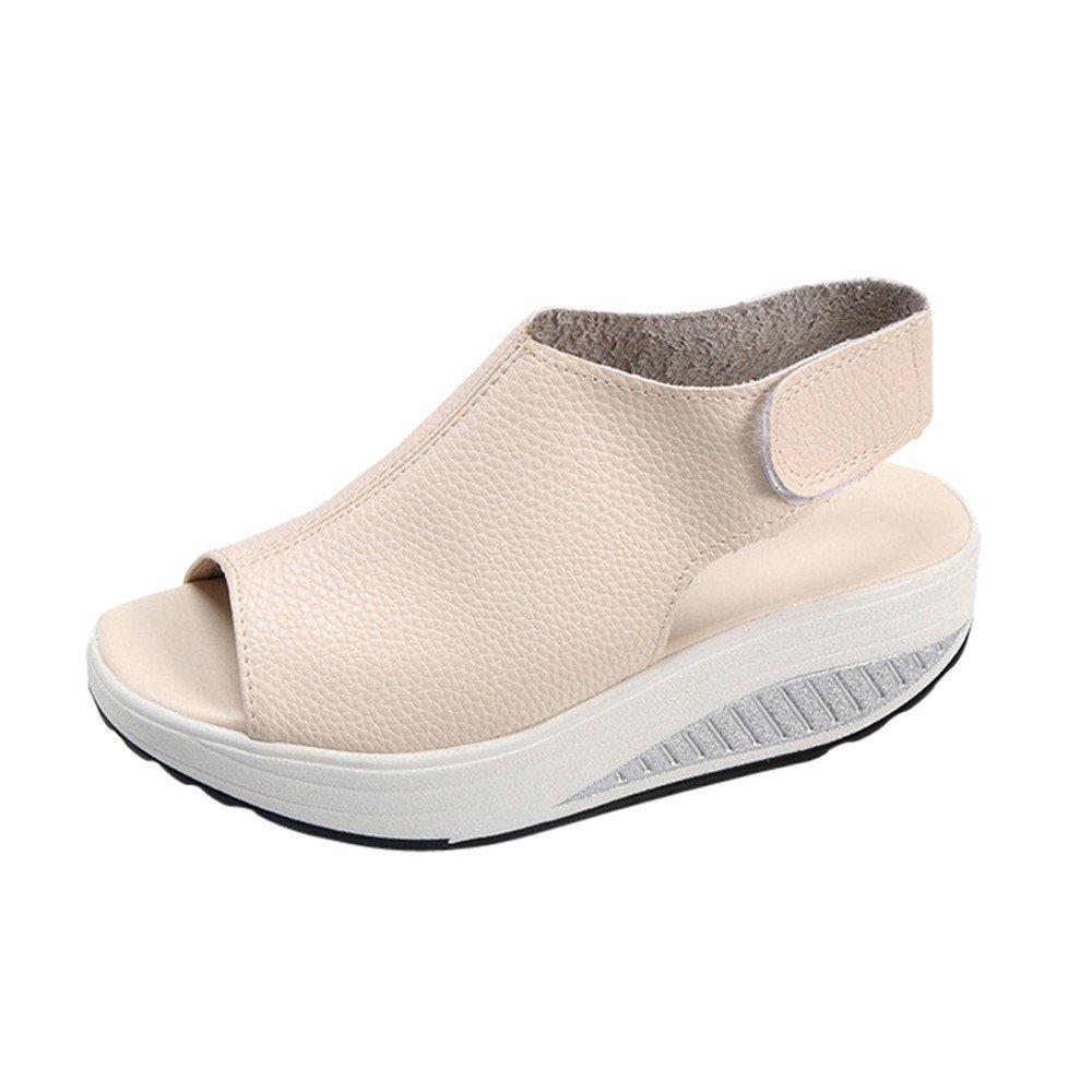 ★QueenBB★ Women's Platform Heeled Leather Comfort Fish Mouth Peep Toe Walking Wedges Sandals Beige