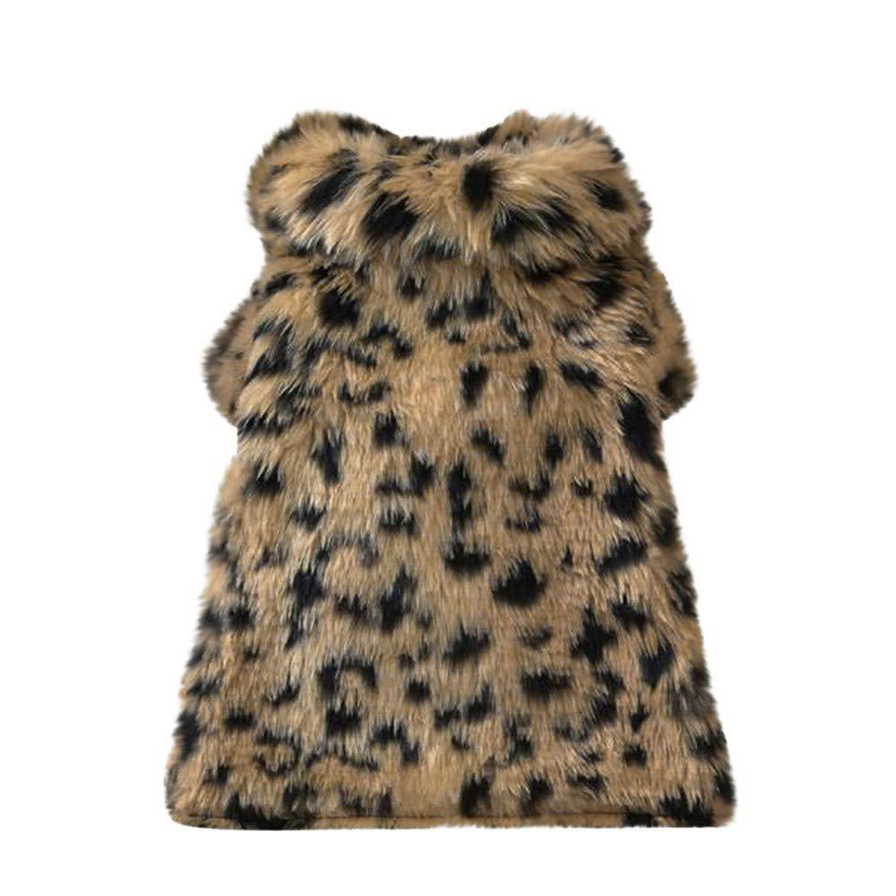 QinMM Mascotas Perros Ropa de Leopardo de Lana Sudadera Caliente Perrito Ropa c/álido Invierno Abrigo Chihuahua Jersey