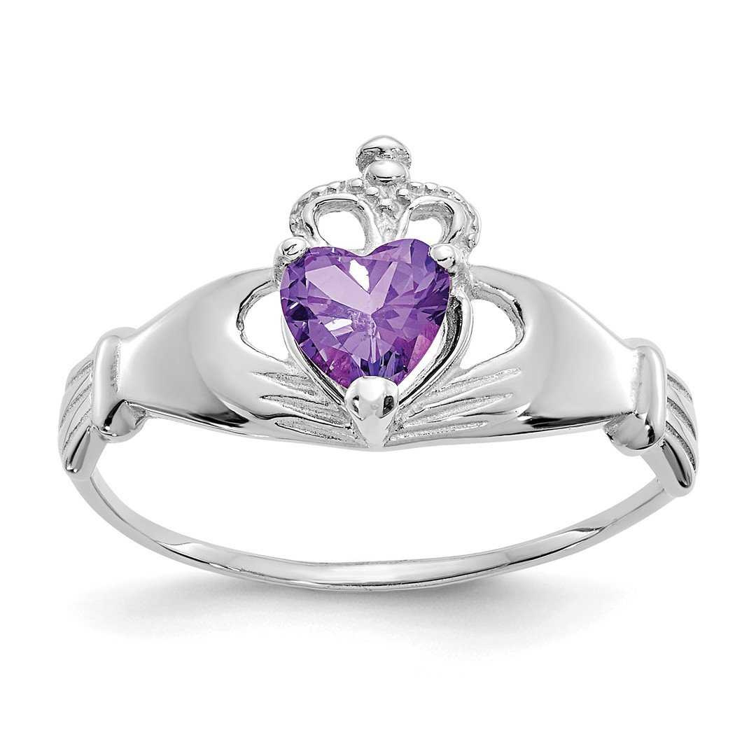 ICE CARATS 14k White Gold Cubic Zirconia Cz February Birthstone Irish Claddagh Celtic Knot Heart Band Ring Size 7.00 Style Fine Jewelry Ideal Mothers Day Gifts For Mom Women Gift Set From Heart