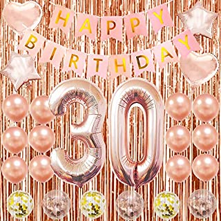 Happy 30th Birthday Decorations Rose Gold 30th Birthday Party Supplies 30th Number Balloons 40 Inch