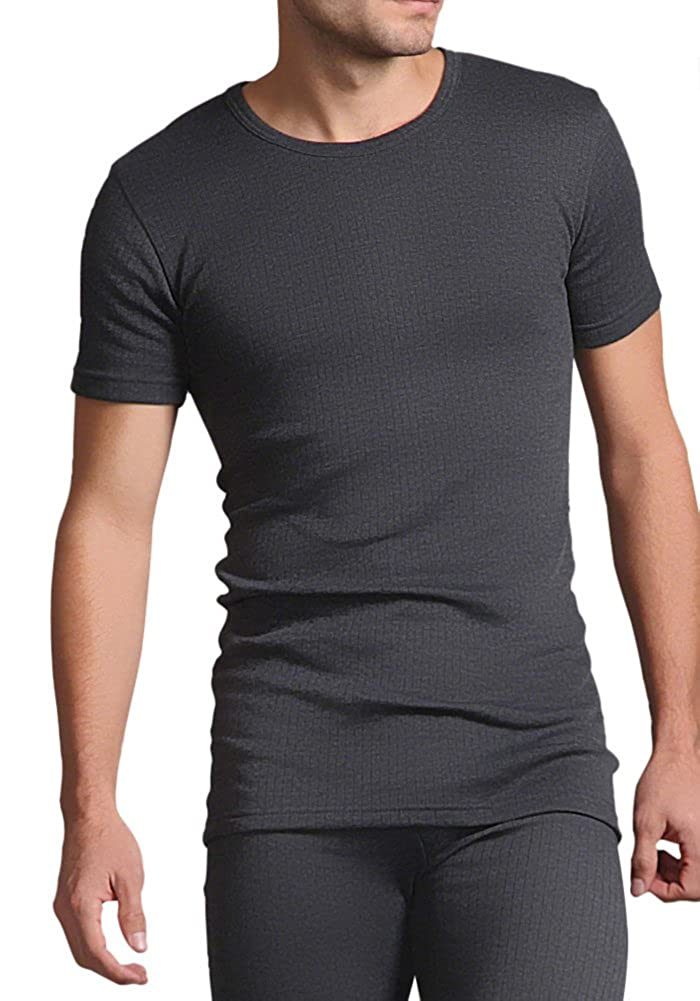 HEAT HOLDERS Men's Thermal Underwear 0.45 tog short Sleeved Vest Charcoal Grey