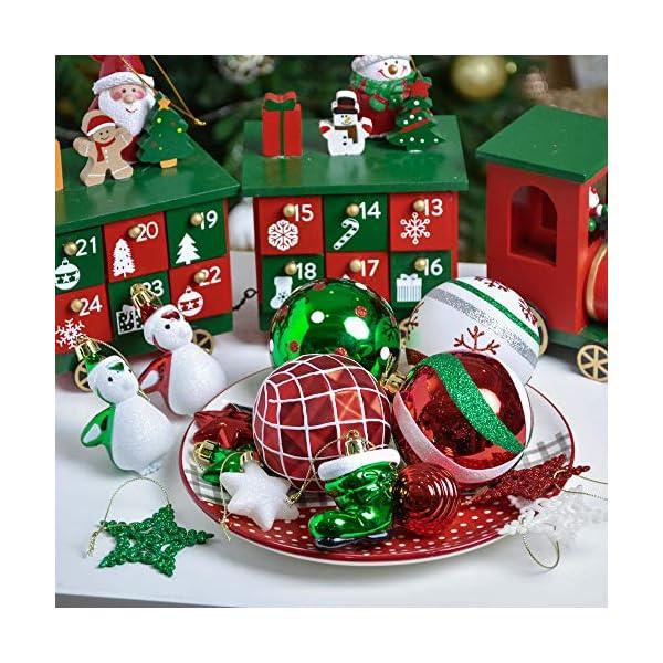 Valery Madelyn Palle di Natale 60 Pezzi di Palline di Natale, 3-4 cm Collezione Classica Ornamenti di Palle di Natale Infrangibili Rosso Verde e Bianco per la Decorazione Dell'Albero di Natale 6 spesavip