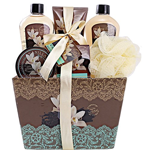 """Spa Basket for Women with Refreshing """"Seductive Vanilla"""" Fragrance by Draizee – Luxury Bath & Body Set Includes 100% Natural Cream's Lotion's & Much More! – #1 Best Gift Idea for Christmas, Holiday (Spa Gift Set Ideas)"""