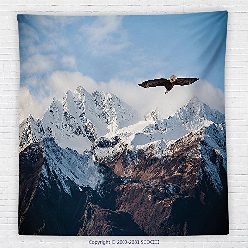 59 x 59 Inches Apartment Decor Fleece Throw Blanket Frozen Peaks Tops of the Mountain with a Flying Eagle Free in the Nature Photo (Elvis Eagle Cape)