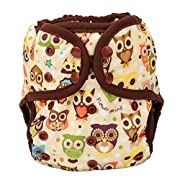 One Size Cloth Diaper Cover Snap With Double Gusset (Owls)