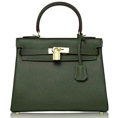 2b22f2a40fe9 Macton Genuine Leather women s handbag MC-8030 (Dark Green)  Handbags   Amazon.com