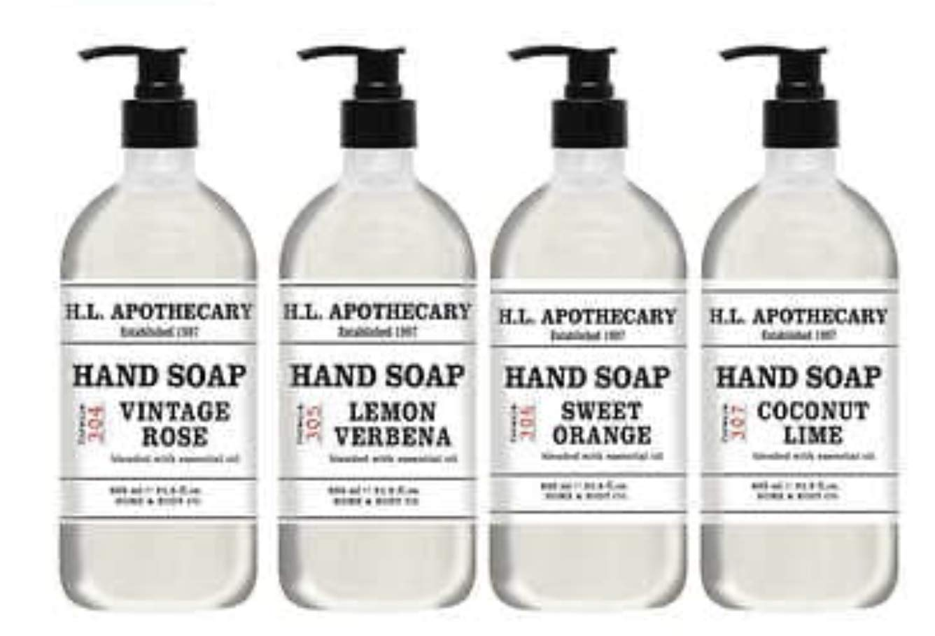 Home and Body Company H.L. Apothecary Hand Soap Infused w/Essential Oils 4-Pack Collection