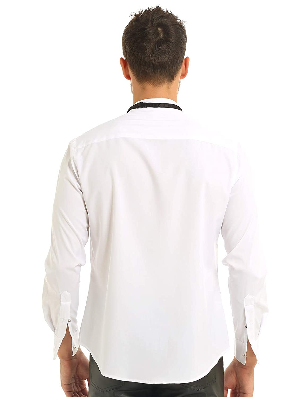 inlzdz Camicia da Smoking da Uomo Doppio Polsino Plissettato Colletto Standard Volante Frontale con Papillon vestibilit/à Regolare