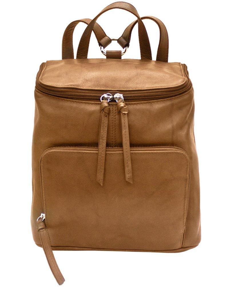 ili Leather 6502 Backpack Handbag with RFID Lining (Antique Saddle)
