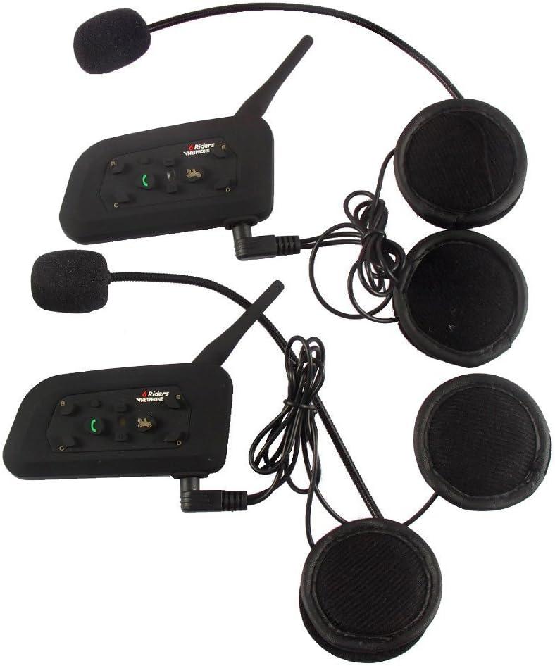 2×V6 1200M Auriculares Intercomunicador Bluetooth para Motocicletas,Comunicador Auricular para Casco, Interfono Duplex, Intercomunicacion entre 6 Motociclistas, IPX5 Impermeabilidad