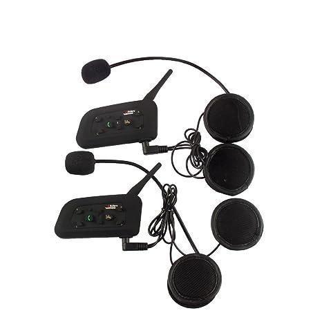 2×V6 1200M Auriculares Intercomunicador Bluetooth para Motocicletas,Comunicador Auricular para Casco, Interfono