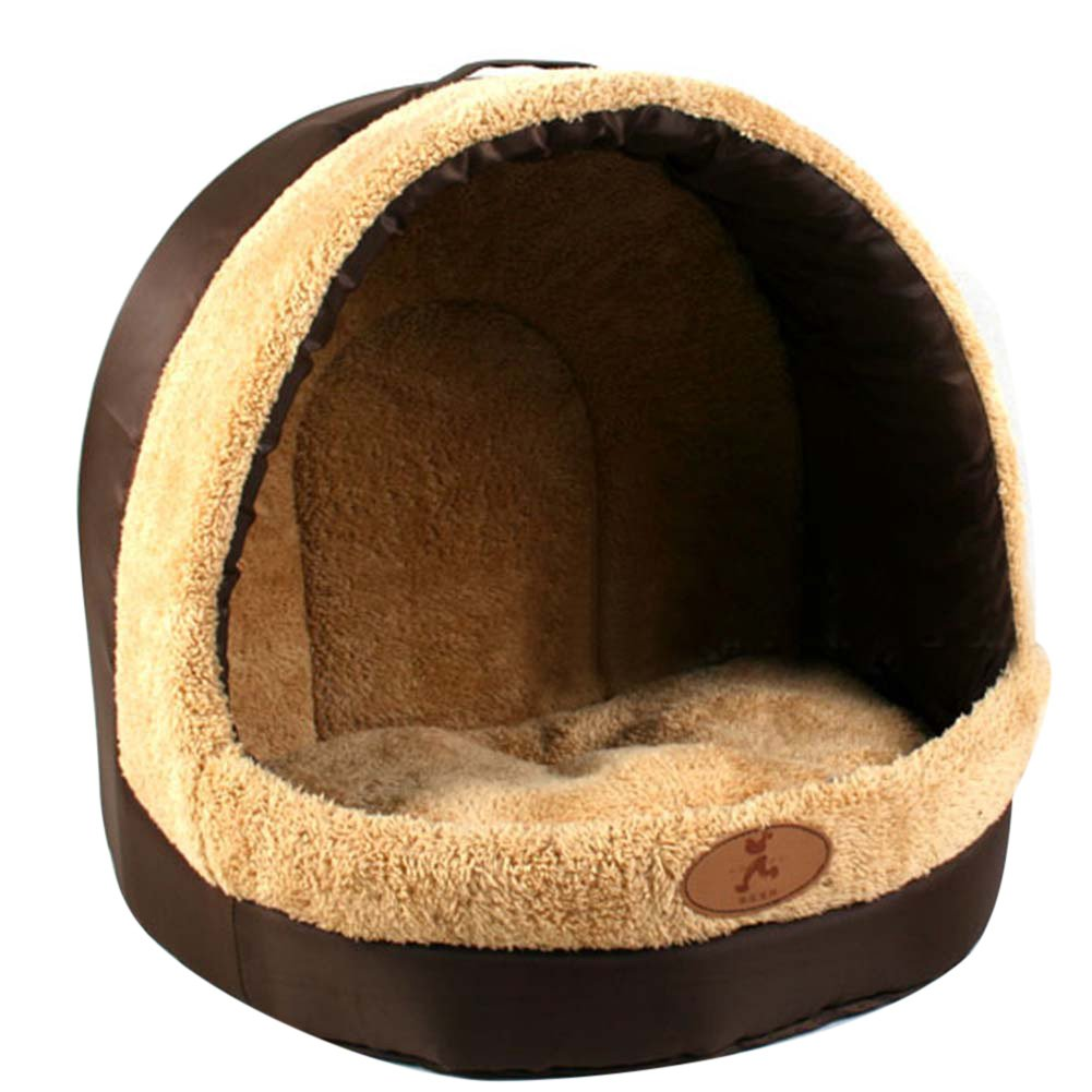 Wellouis Cute Fleece Pet Bed with Soft Cushion Nest Washable /& Self-heating Warm Pet Igloo House for Puppy Dog Cat