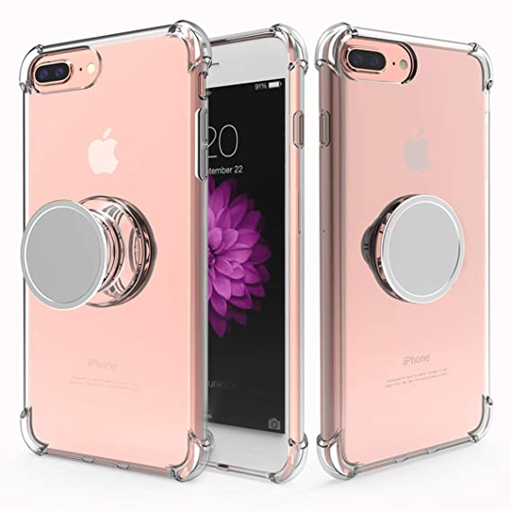 new product 713e4 847ea iPhone 8 Plus Case Slim,iPhone 7 Plus Case Clear,Yetolee Premium Soft TPU  Protective Shockproof Case with Kickstand Iron Mirror [Fit Car Mount] for  ...