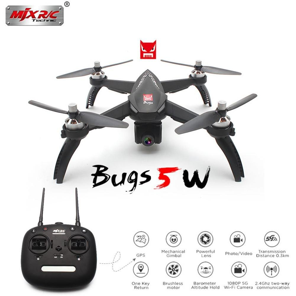 Arteki RC Drone 2.4G 4-Way Remote Control Four-Axis Aircraft Brushless Remote Control 1080P 5G WiFi FPV Camera 1500KV Brushless Motor,Altitude Hold, One Key Return (Bugs 5W + 2 Battery)  Bugs 5W + 1 Battery