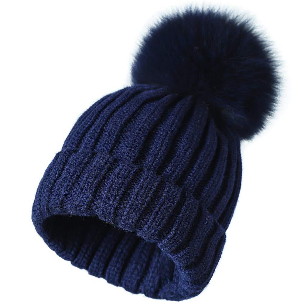 bluee With bluee Fox Pom Roniky Winter Knit Hat Real Fox Raccoon Fur Pom Pom Womens Girls Knit Beanie Hat