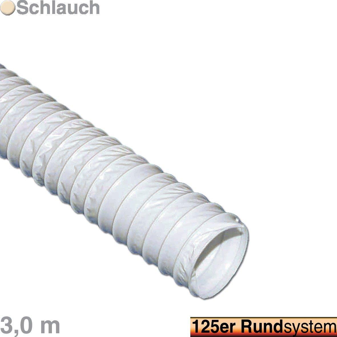 VIOKS 3m Abluft Haube Lufthaube Lüftung Aussenhaube Aussengitter Anschluss: 125mm Schlauch Länge: 3, 0 Meter für Dunstabzugshaube Klimagerät oder Trockner