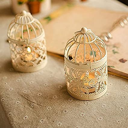 A Metal Tealight Candle Holder Wedding Candle Centerpieces for Tables Iron Candlestick Holder Home Decor Birdcage Candlestick White