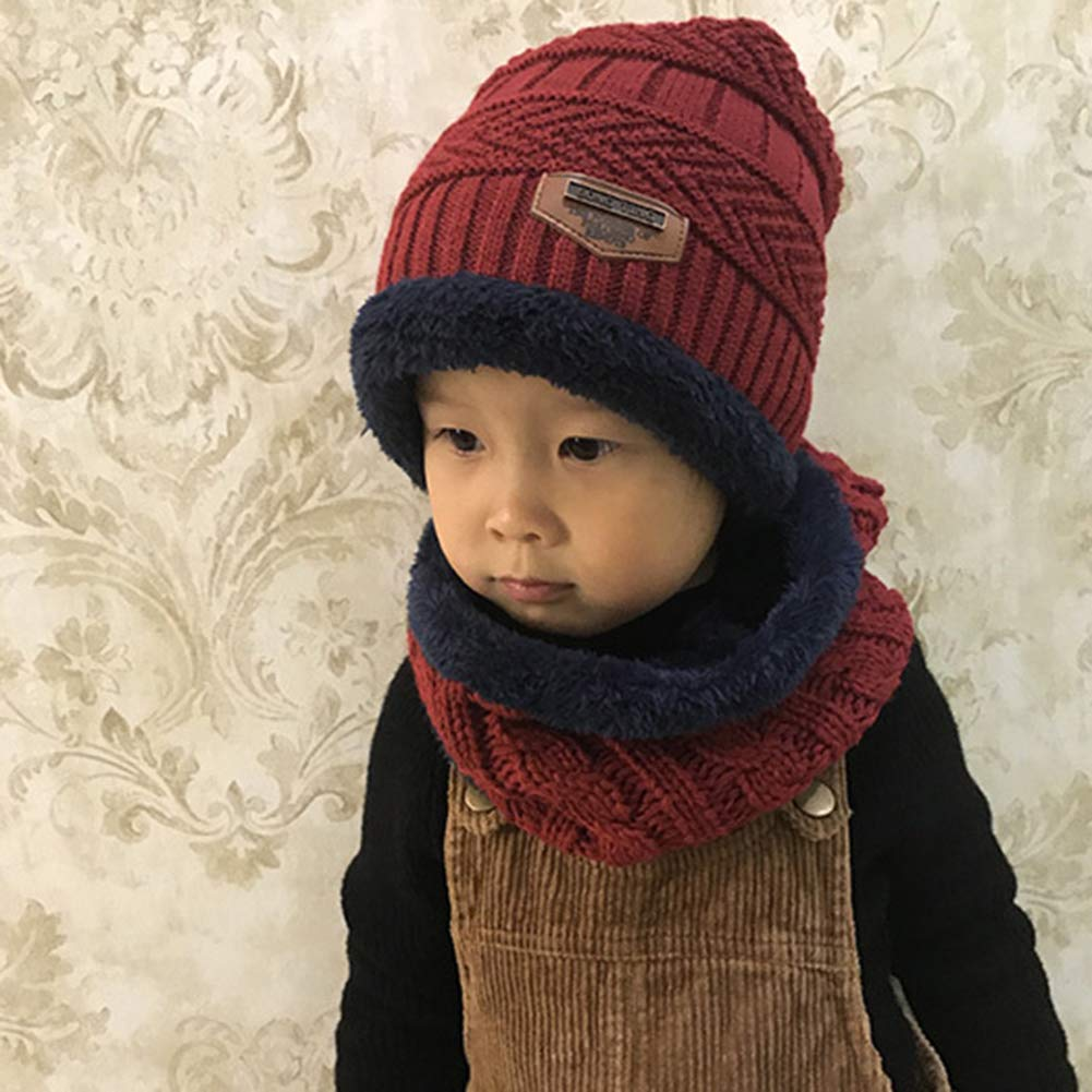 Sandalas Kids Winter Hat and Scarf for Boys Girls Warm Winter Knitted Beanie Hat Circle Scarf