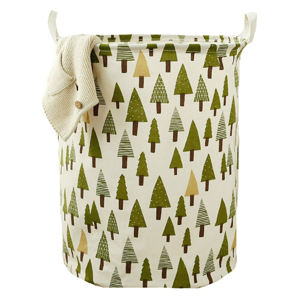 Okdeals Large Size Toy Storage Bin, Foldable Basket, Cylindric Laundry Basket, Waterproof Nursery Hamper with Handles for Nursery