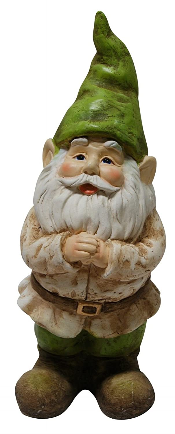 Alpine Corporation Garden Gnome Folding Hands Statue - Outdoor Decor for Garden, Patio, Deck, Porch - Yard Art Decoration