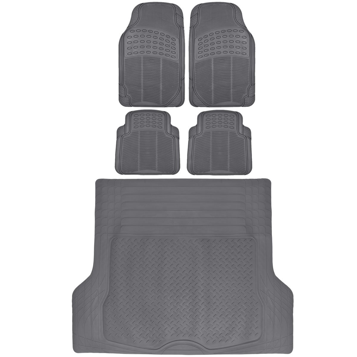 BDK Gray Cargo Rubber Car Floor Mats All Weather Heavy Duty Set 5 pcs