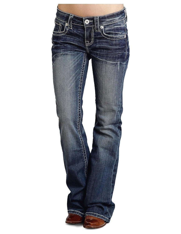 "Stetson Women's 816 Fit White ""S"" Stitch Bootcut Jeans - 11-054-0816-1305 Bu"