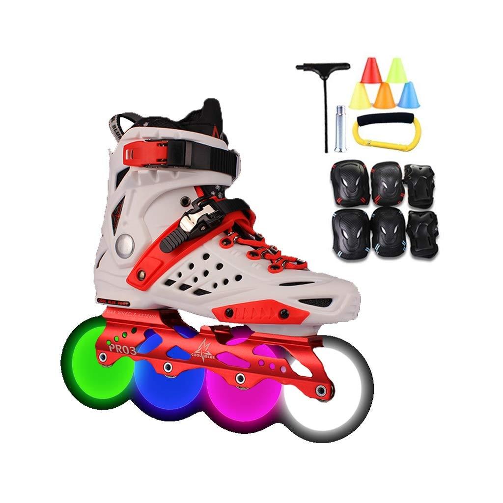 Ailj 通気性の快適さハイエンド ボーイズブラック インラインスケート ライトアップホイールを使って、 赤、白 ローラーブレード 少女と若者のために (Color : 白い, Size : 37 EU/5 US/4 UK/23.5cm JP) 白い 37 EU/5 US/4 UK/23.5cm JP