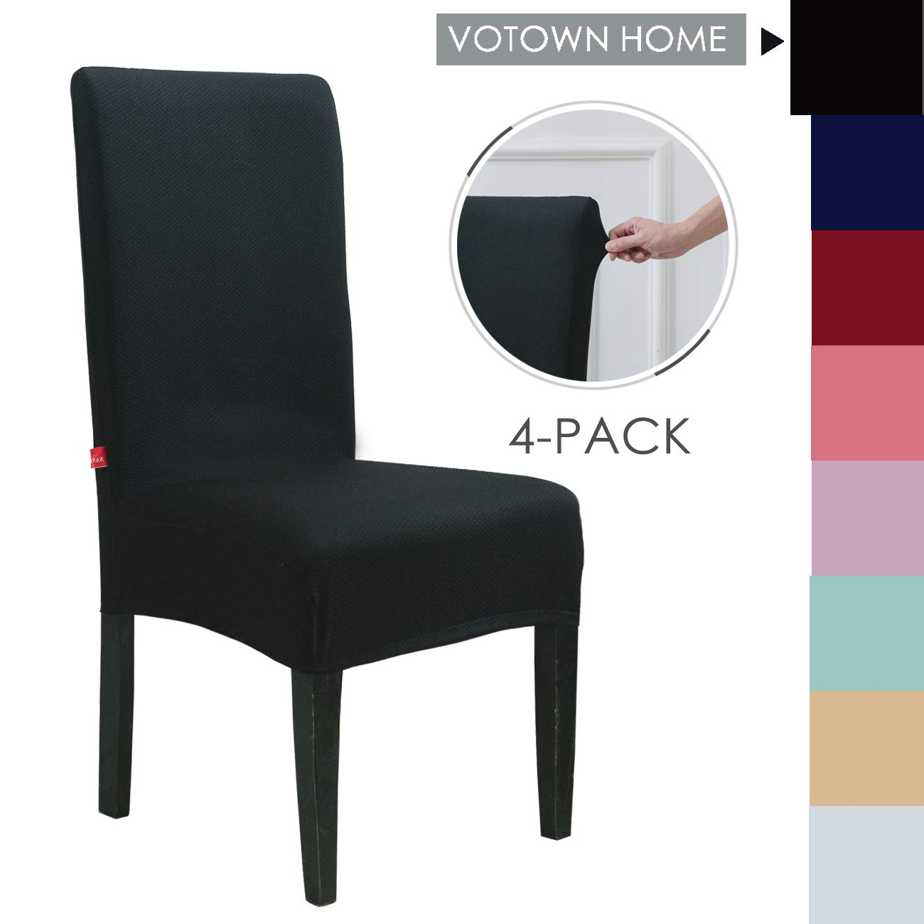 Votown Home Dining Room Chair Slipcovers Spandex Stretch fabric Home Decor Set of 4, Black