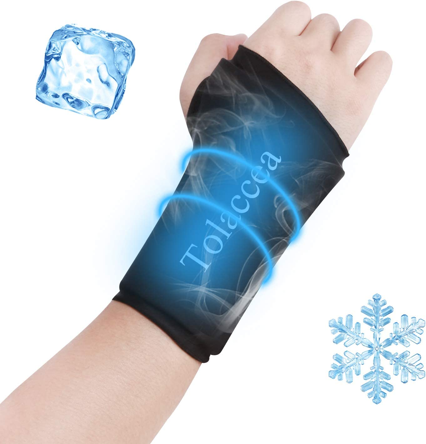 Tolaccea Wrist Ice Pack Wrap & Heating Pad Microwavable Hot & Cold Therapy Wrist Brace for Pain Relief of Carpal Tunnel, Rheumatoid Arthritis, Tendonitis, Sports Injuries, Swelling, Bruises & Sprains