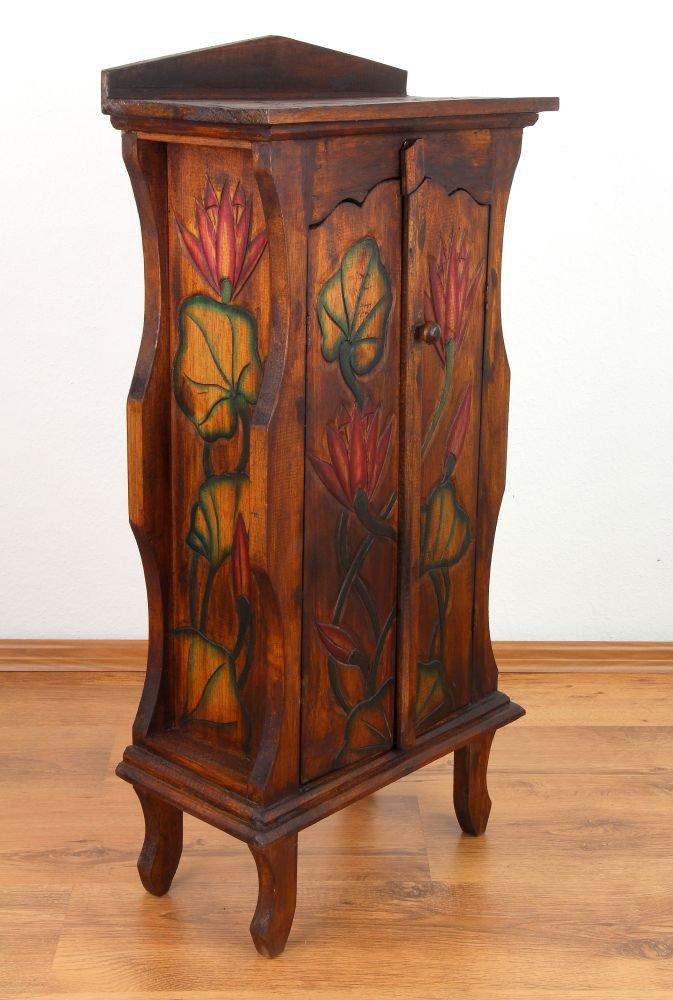Asia Wohnstudio Small double door cabinet from Bali, bathroom, bedroom, living room hallway cupboard, handmade (brown)