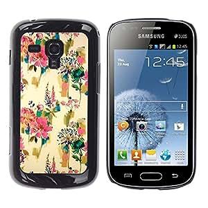 For Samsung Galaxy S Duos / S7562 Case , Flowers Wallpaper Vintage Paint - Diseño Patrón Teléfono Caso Cubierta Case Bumper Duro Protección Case Cover Funda
