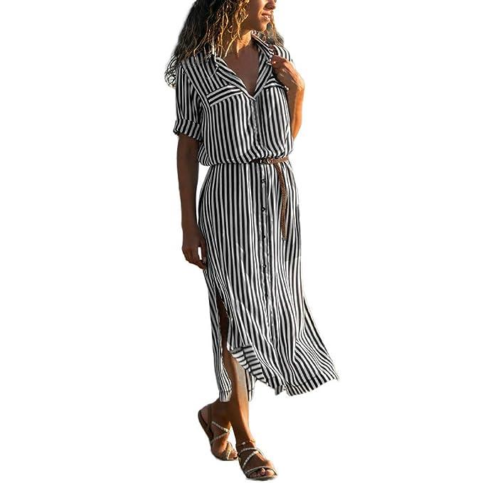 Vestidos Largos Mujer, Lunule Vestido de Manga Larga a Raya Vestido Camisero Mujer Vestido de Vendaje de Mujer: Amazon.es: Ropa y accesorios