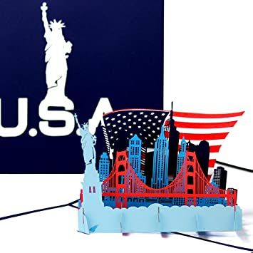 "Pop Up Karte ""U.S.A.   Stars & Stripes""   3D Grußkarte als"