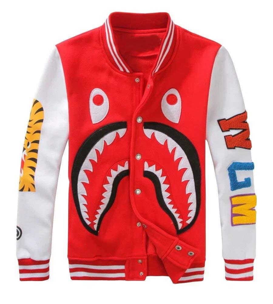 APE TEES Men's Sharks Head Casual Baseball Sweatshirts Jackets Red