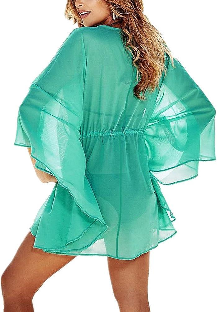 L-Peach Femme Chiffon Tunique Chemise Par/éo pour Maillot de Bain Robe de Plage Bikini Cover Ups