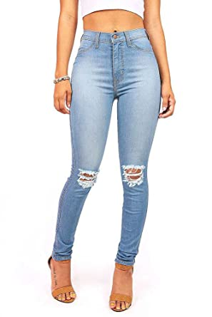 454458807 Vibrant Women's Juniors Faded Ripped Knee High Waist Skinny Jeans at Amazon Women's  Jeans store