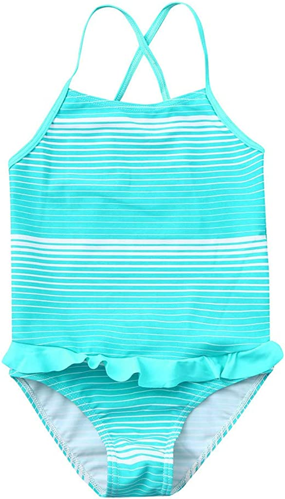 Renlinwell Baby Girls Swimsuit Two Piece Swimwear Ruffle Floral Printed Beach Bathing Suit