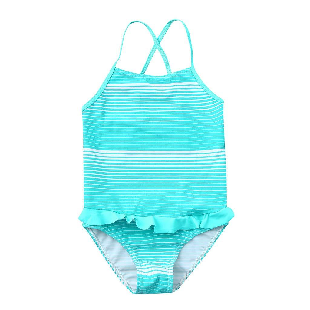 7bd602c7cbdd8 Amazon.com: Girls' Stripe One-Piece Swimsuit Beach Swimwear Cute Ruffle Bathing  Suit Tiered Swimming Set: Clothing