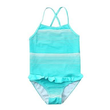 b4a63a0fa168 Girls' Stripe One-Piece Swimsuit Beach Swimwear Cute Ruffle Bathing Suit  Tiered Swimming Set