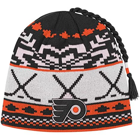 2cee2cde5cc Image Unavailable. Image not available for. Color  NHL Reebok Philadelphia  Flyers Youth Woven Tassel Knit Hat ...