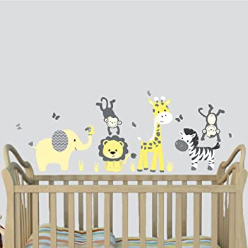 Amazoncom  Mini Yellow Gray Jungle Animal Wall Decals Jungle - Baby room decals
