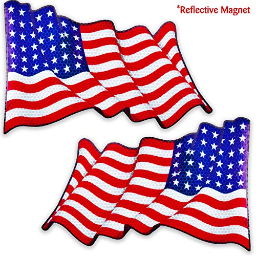 Bigtime Signs Reflective American Flag Magnet for Car | Pair of Patriotic Waving USA Flag Magnetics for Auto, Truck, Vehicle | 6
