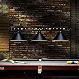 Chende 59'' Hanging Pool Table Light Fixture for Game Room Beer Party, Ball Design Metal Billiards Light with 3 Lamp Shades, Suitable for 7' or 8' Tables (Black)