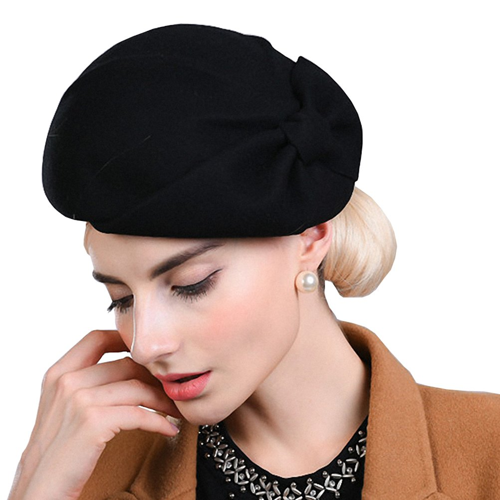 Maitose Women's Autumn and Winter Bow Wool Beret Coffe Black