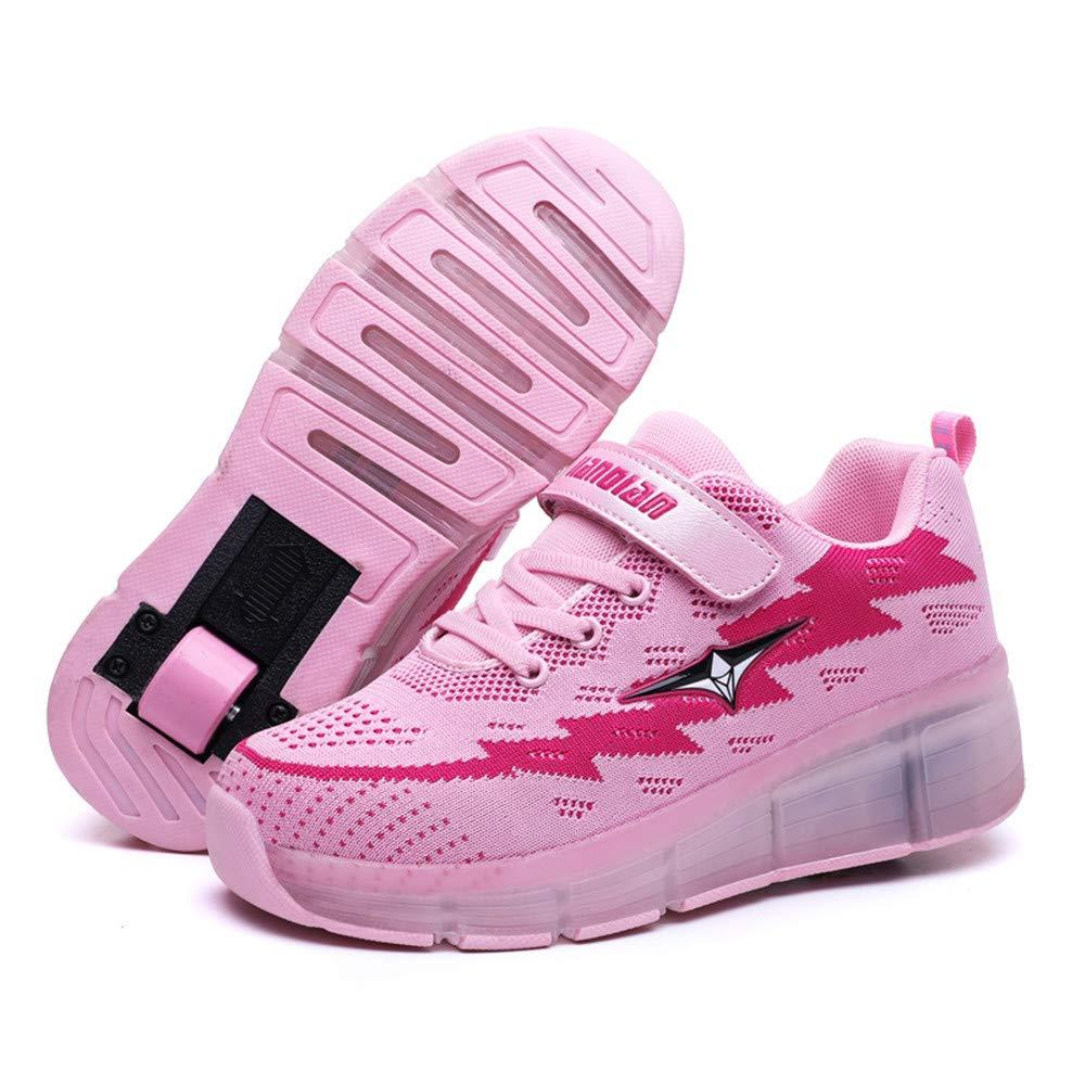 LXIANGP Zapatos de Rodillo Fly Zapatos con Ruedas,Unisex Zapatos para niños y niñas, Zapatos de una o dos Ruedas, Zapatos con Destellos de LED con Carga USB ...